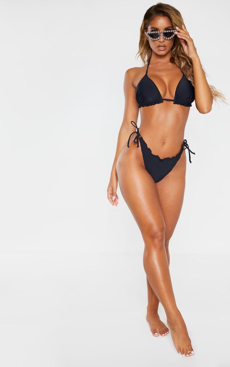 Black Frill Edge Ruched Back Bikini Bottom 3