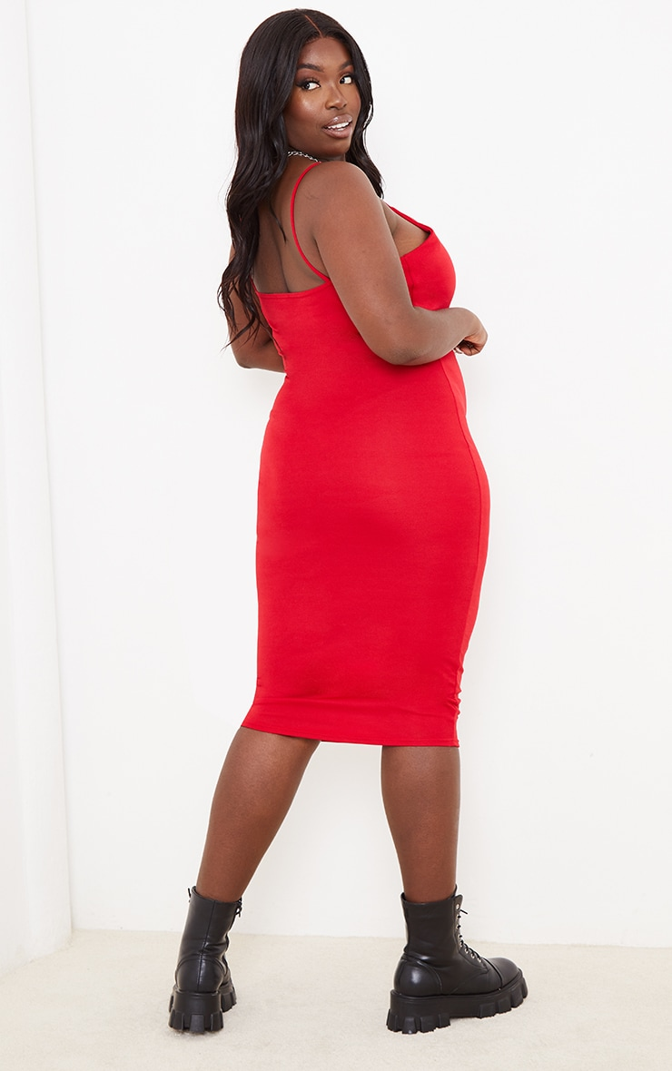 Plus Red Strappy Midi Dress 2