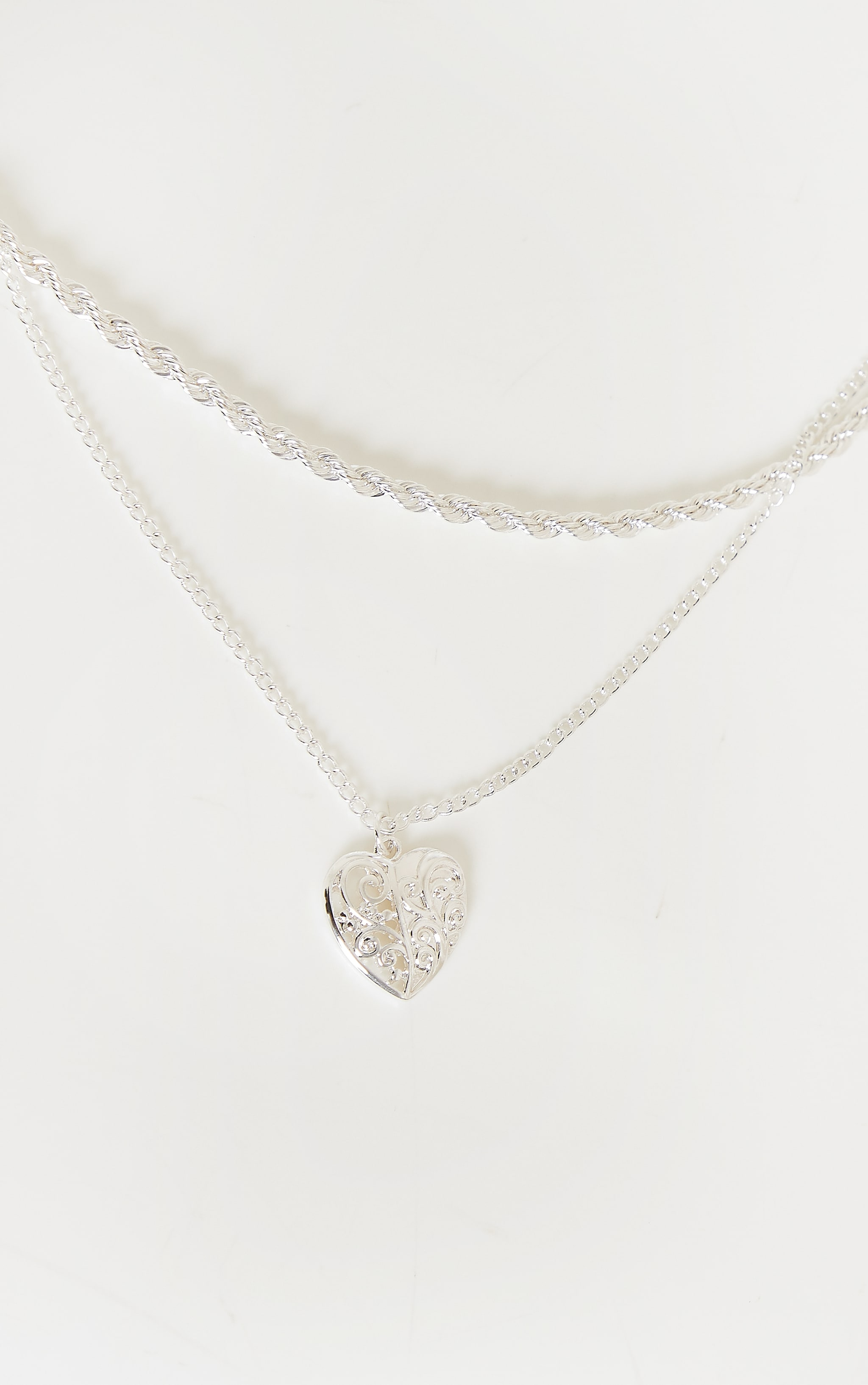 Silver Rope And Heart Charm Layering Necklace 3