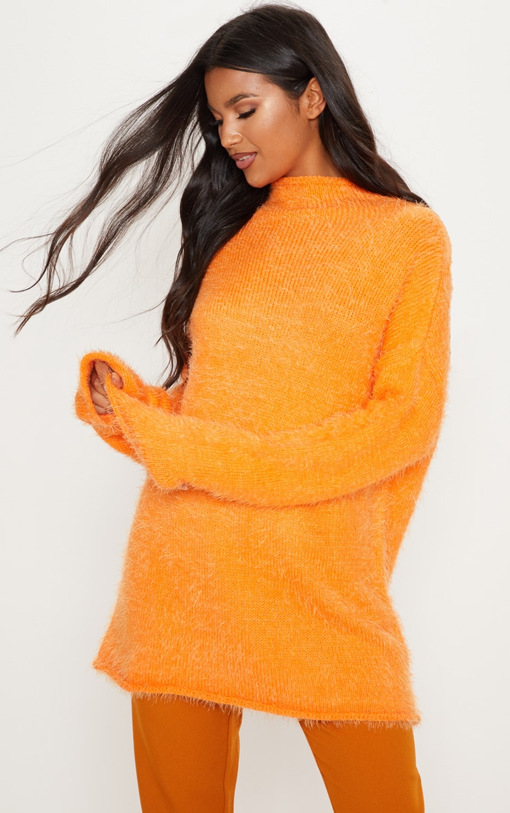 Orange Oversized Eyelash Jumper 4