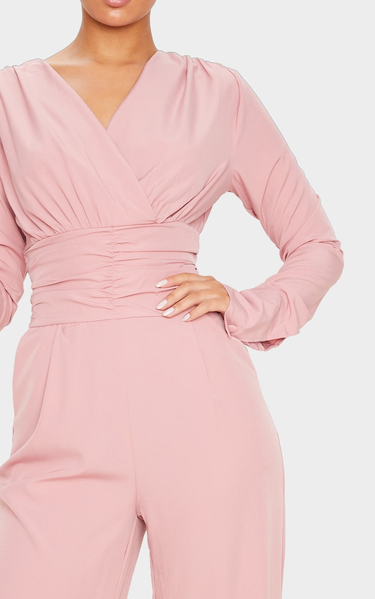 Dusty Pink Pleated Waist Plunge Jumpsuit 5