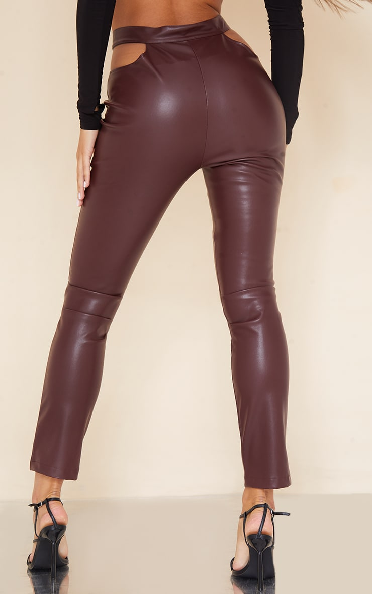Dark Chocolate Faux Leather Cut Out Detail Skinny Trousers 3