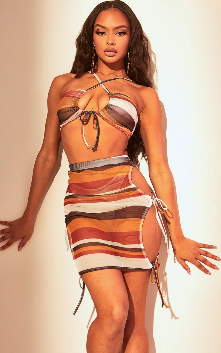 Brown Stripe Mesh Tie Side Mini Skirt 5