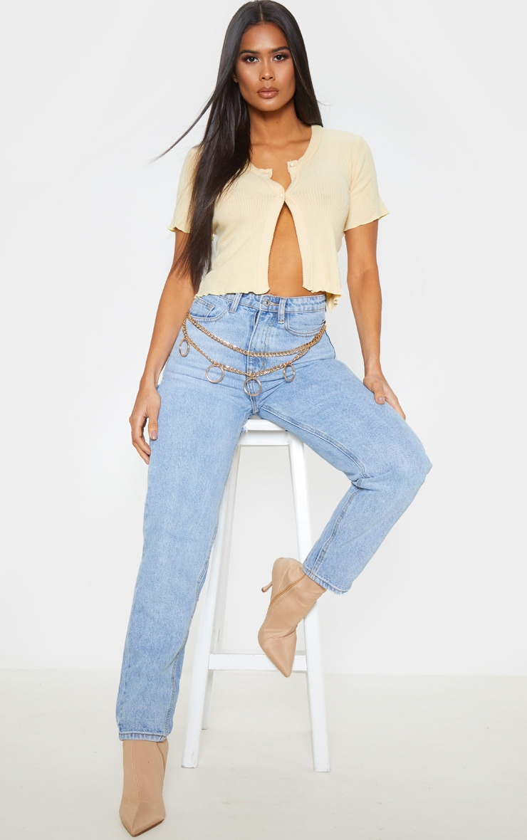 Sand Brushed Rib Button Front Short Sleeve Top 4