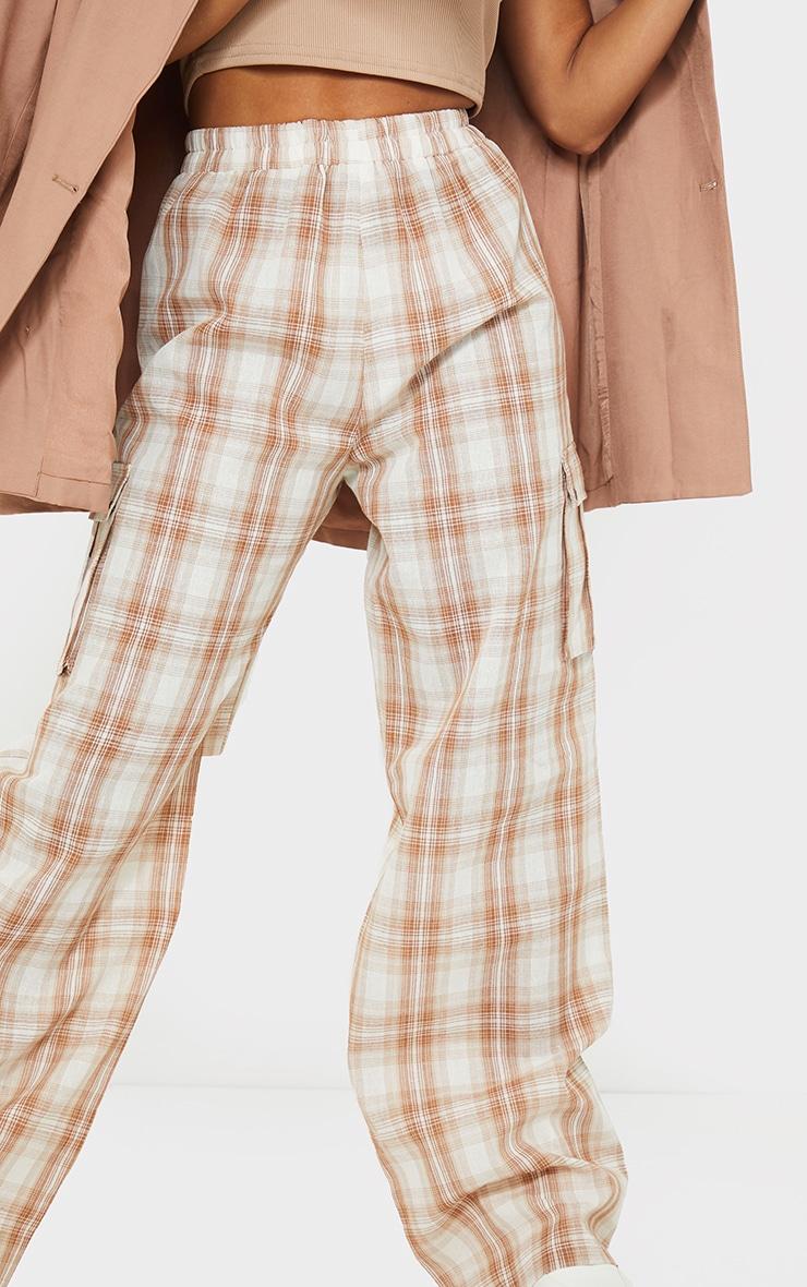 Stone Check Wide Leg Cargo Pants 4