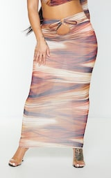 Shape Brown Layered Print Slinky Cut Out Detail Midaxi Skirt 2