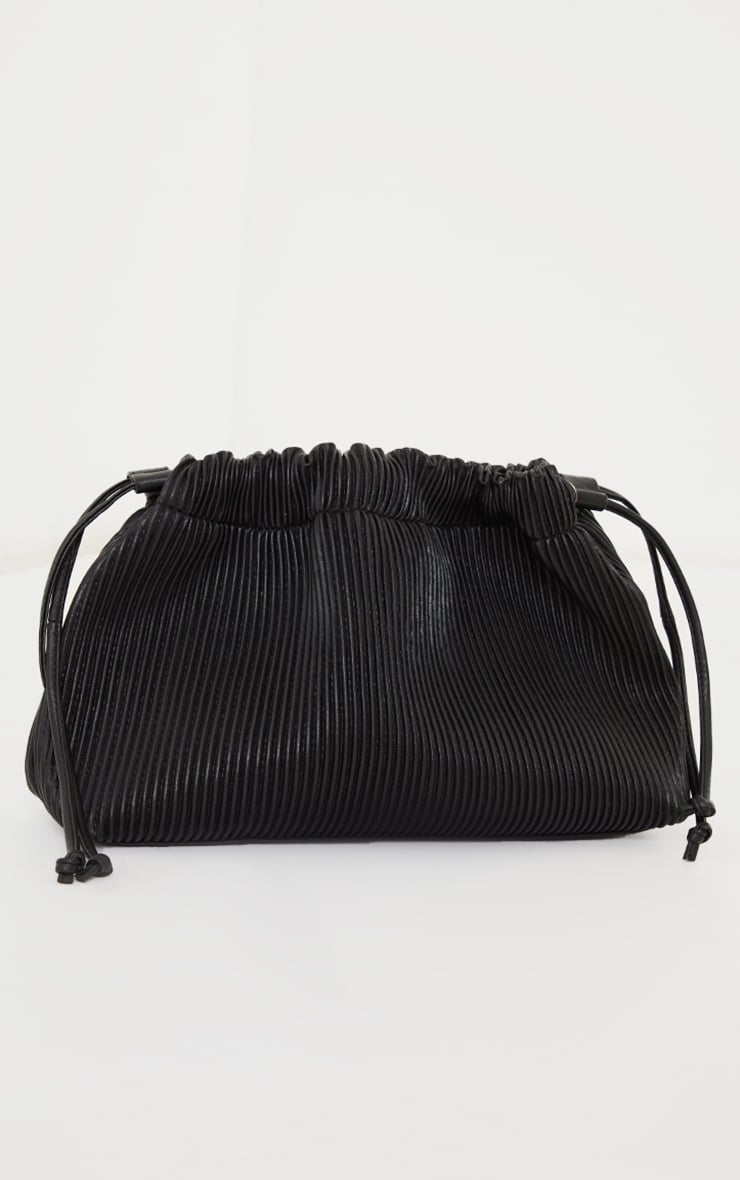 Black Oversized Pleated Clutch Bag 2