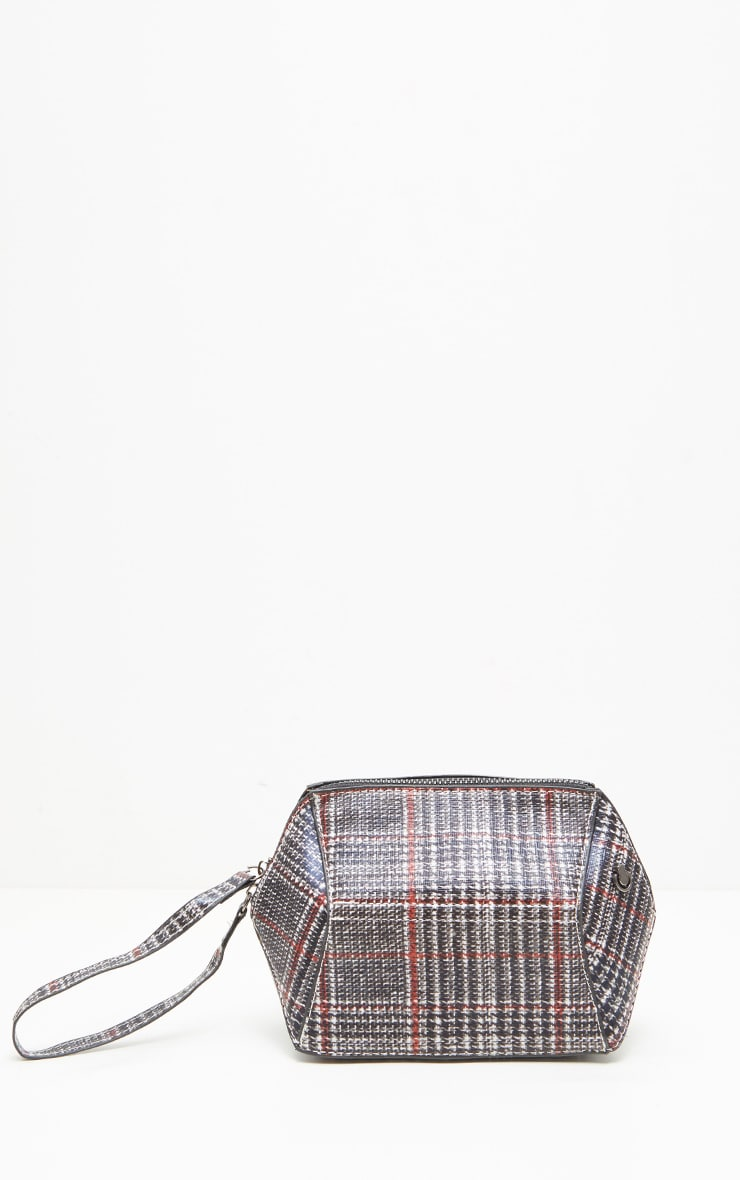 Black and Red Tweed Print Structured Clutch