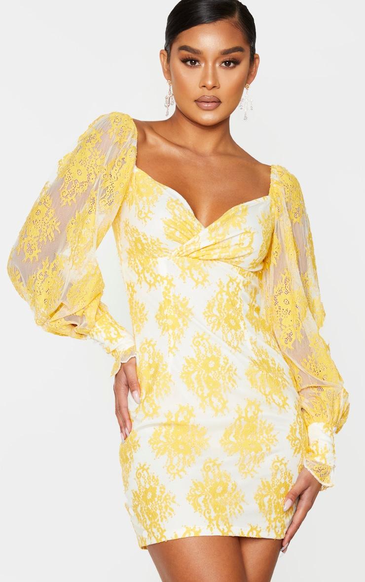 Lemon Button Detail Lace Bodycon Dress 1