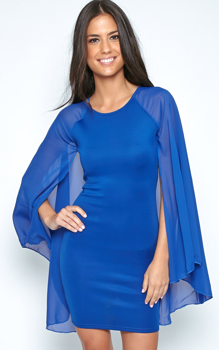 Kayte Cobalt Bodycon Dress With Chiffon Batwing Sleeves 5