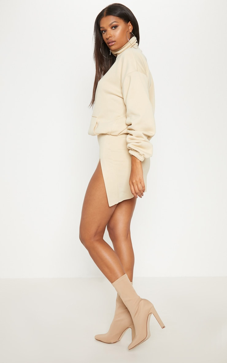 Cream Zip Oversized Ruched Sleeve Sweater 2