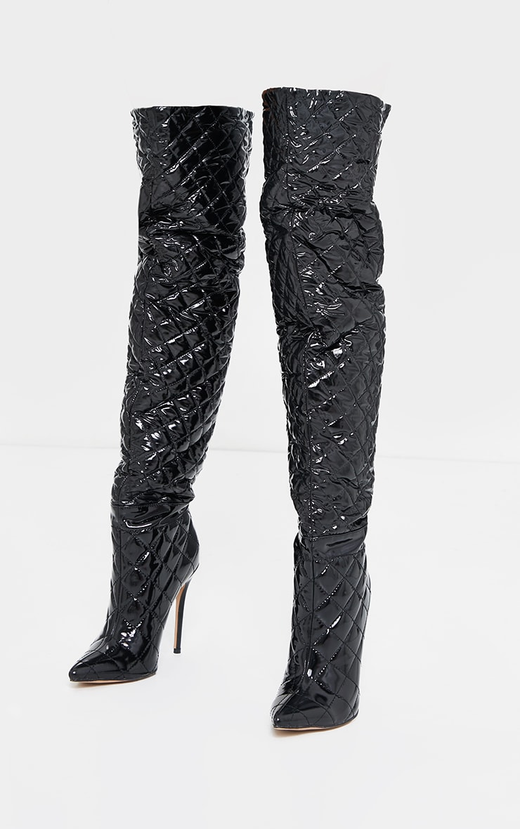 Black Vinyl Quilted Thigh High Boots 3