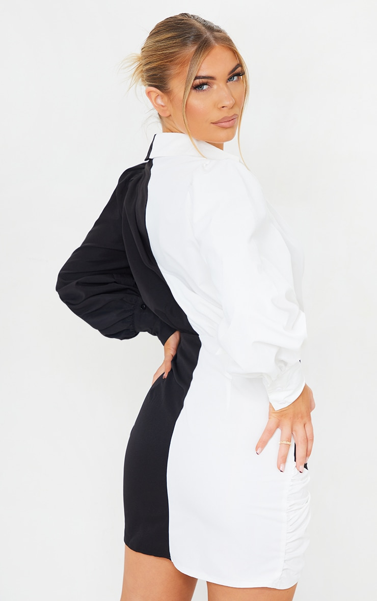 Monochrome Contrast Detail Long Sleeve Shirt Dress 2
