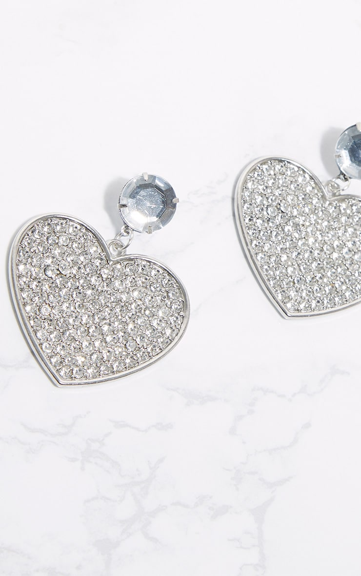 Silver Statement Jewel Heart Earrings 3
