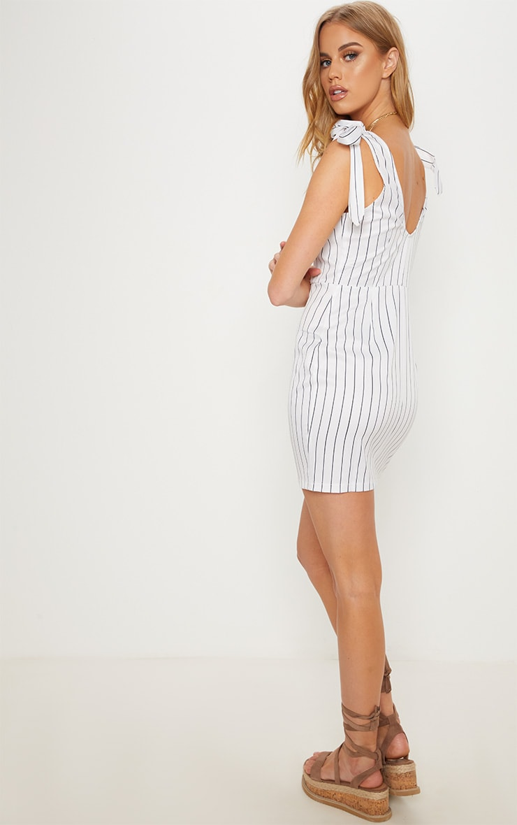 White Pin Stripe Button Up Tie Strap Detail Bodycon Dress 2