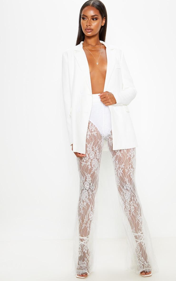 White Lace Flare Leg Trouser 1