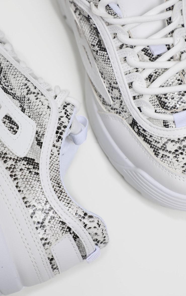Baskets grises imprimé serpent à grosse semelle 4