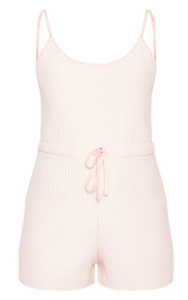 Baby Pink Bonded Rib PJ Romper 3