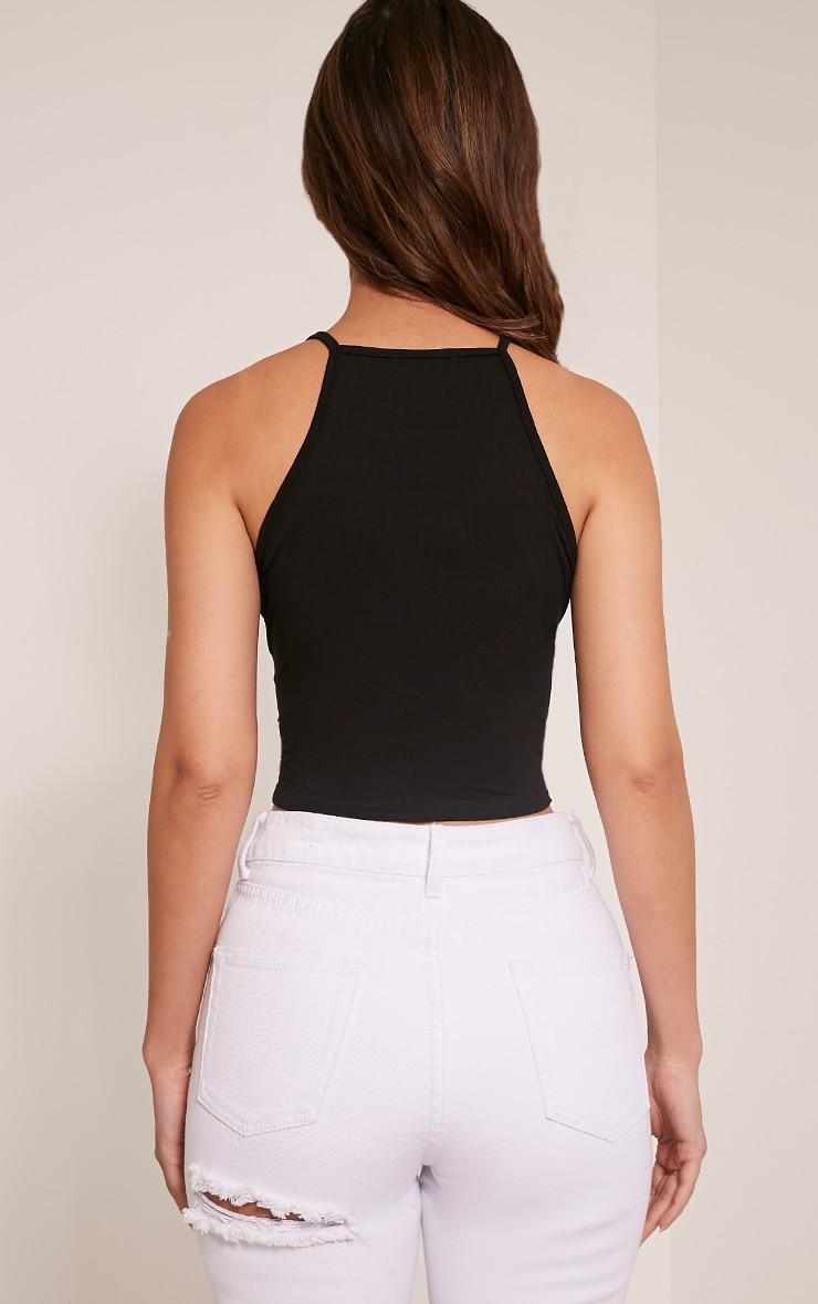 Basic Black Jersey Racer Crop Vest 2