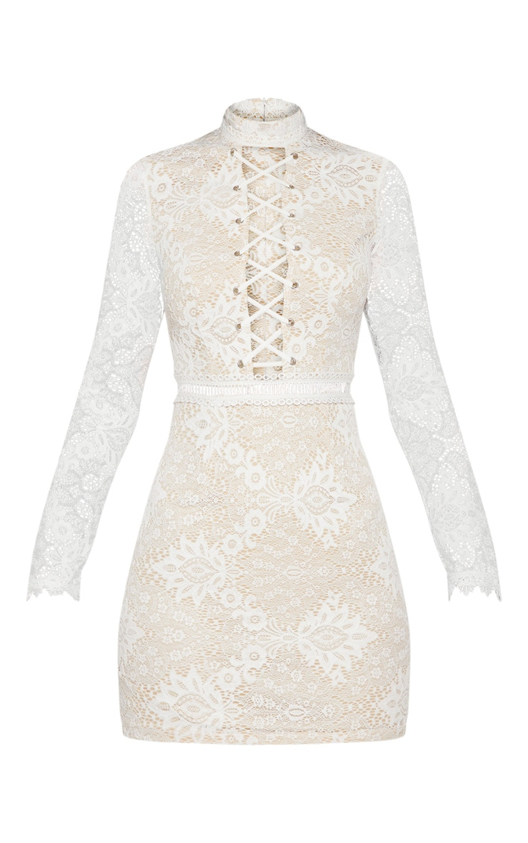 White High Neck Lace Up Bodycon Dress 3