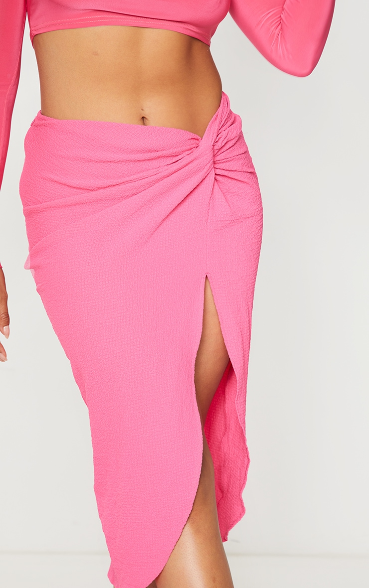 Pink Textured Knot Front Midi Skirt 4