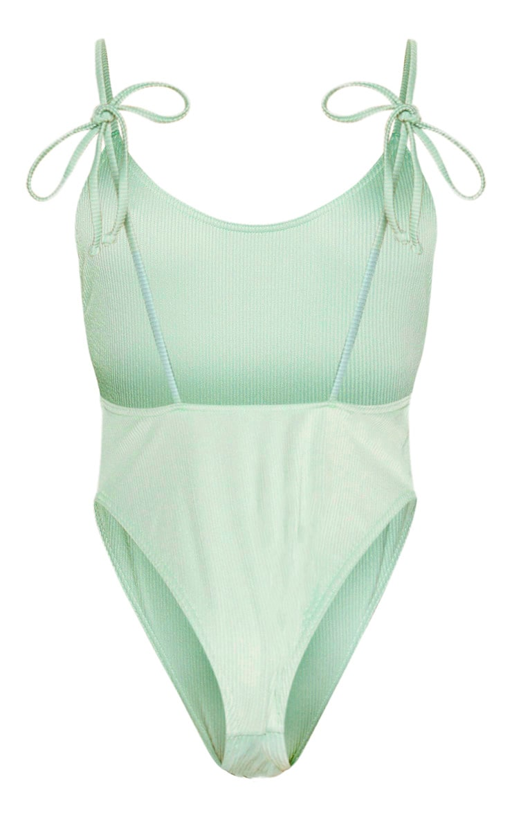Sage Green Textured Tie Shoulder Swimsuit 3