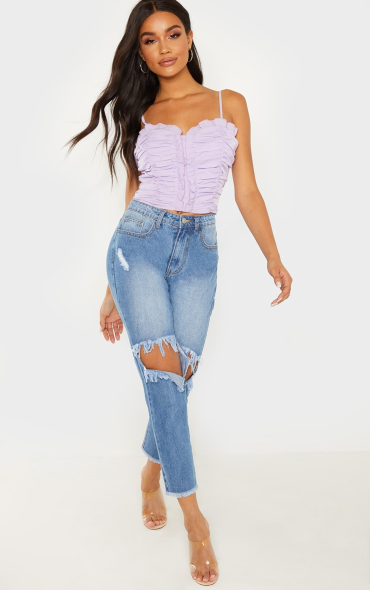 Lilac Ruched Front Cami Crop Top 3