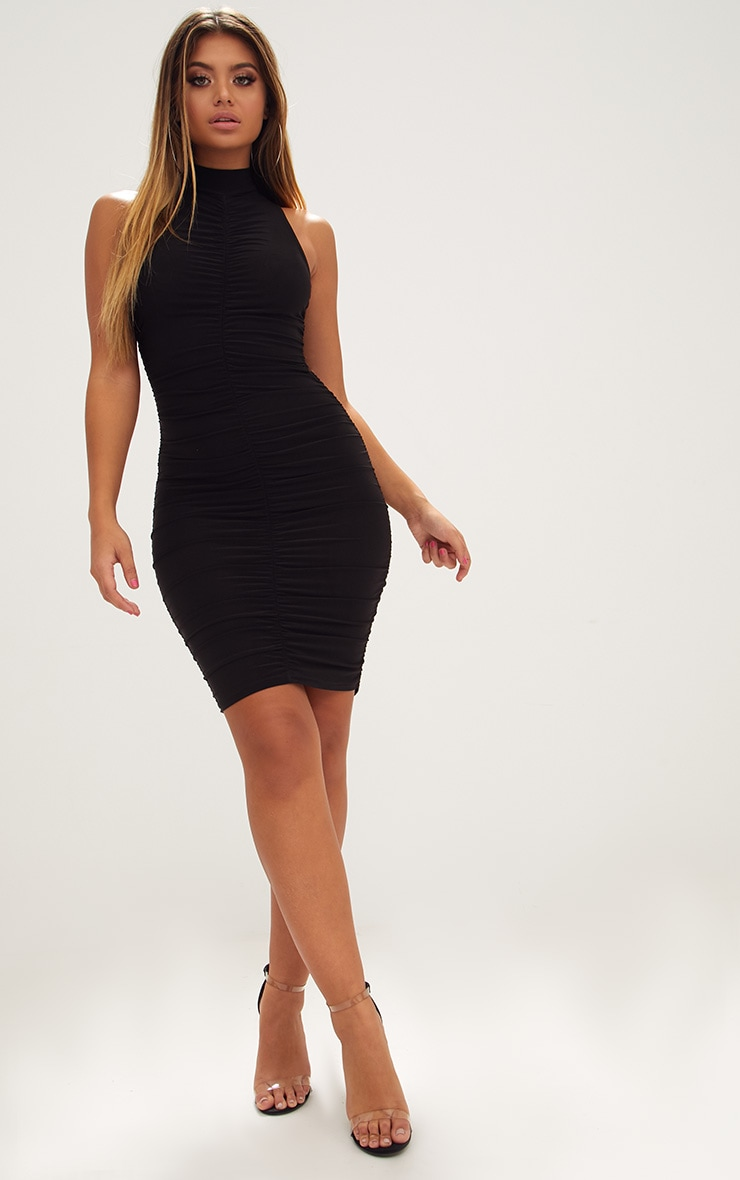 Black High Neck Sleeveless Ruched Slinky Bodycon Dress 4