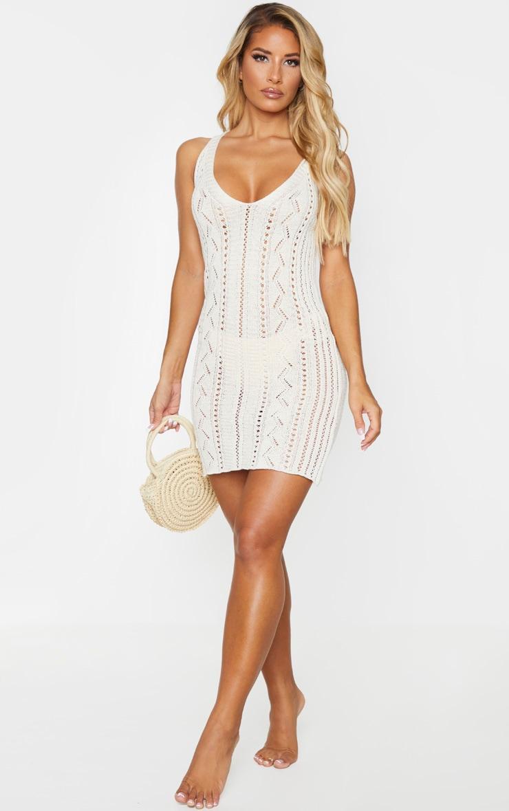 Stone Crochet Mini Beach Dress 3