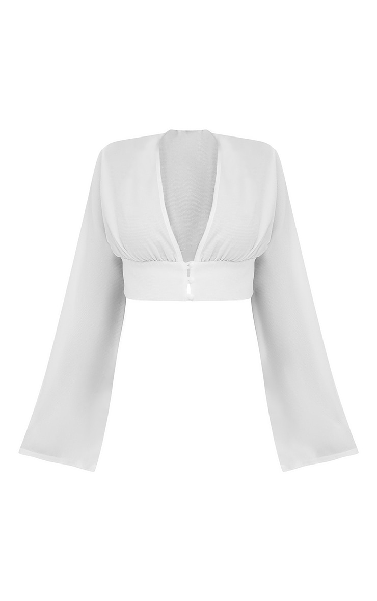 Shape White Button Front Bell Sleeve Top 3
