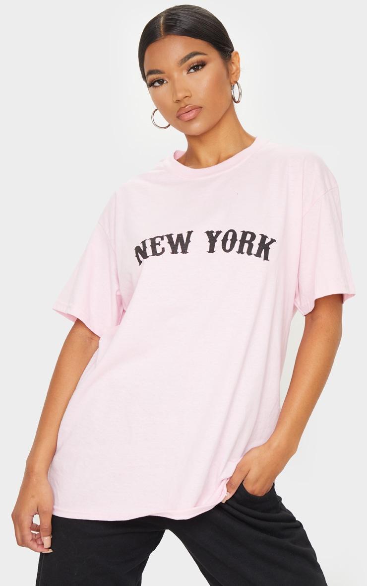 Baby Pink New York Printed T Shirt 1