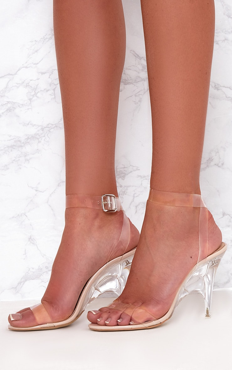 Nude Clear Strap Heeled Sandals  2