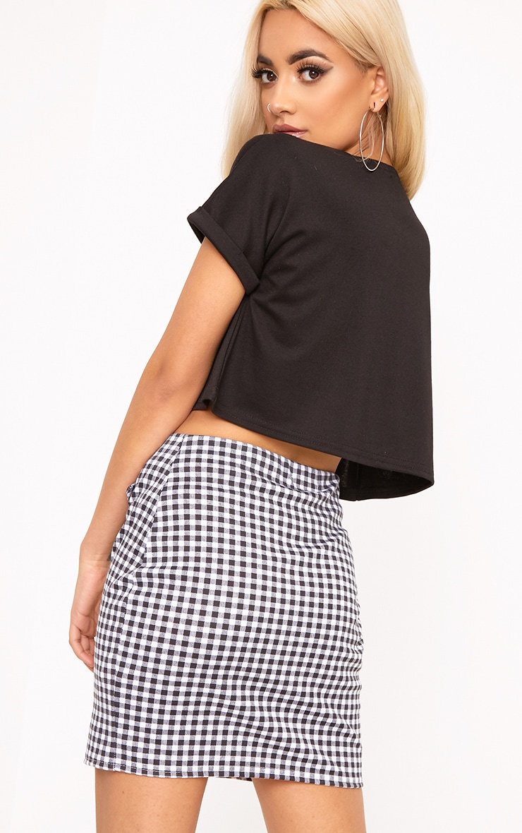 Earlena Black Jersey Ruched Cropped Short Sleeve Top 2