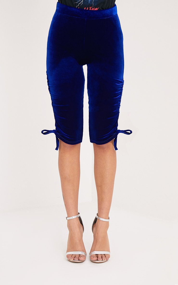 Armide Cobalt Velvet Ruched Cycle Shorts 2