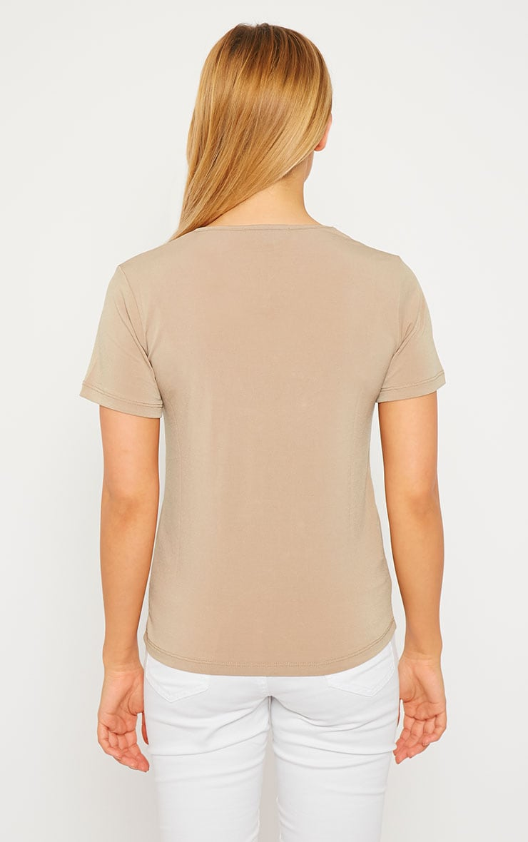 Basic Camel Slinky V-Neck T-Shirt 3