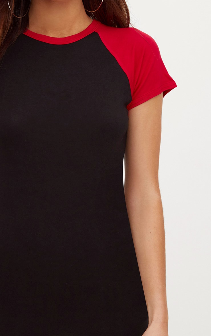 Black Contrast Raglan Sleeve Bodycon Dress 5