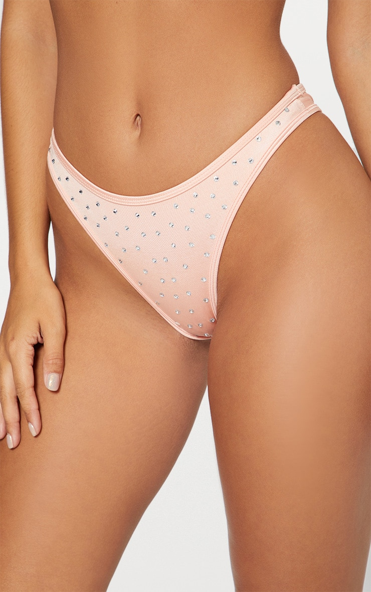 Peach Diamante Studded Brazilian Bikini Bottom 6