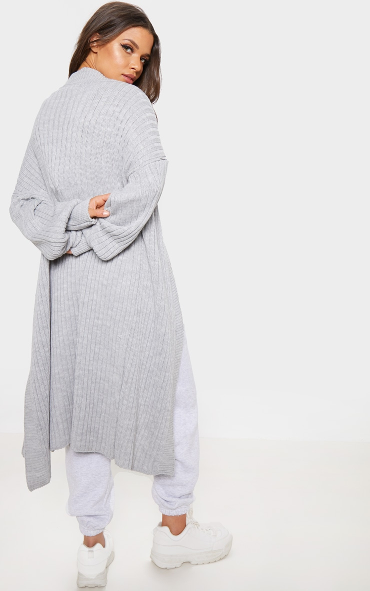 Grey Ribbed Knitted Midi Cardigan 2