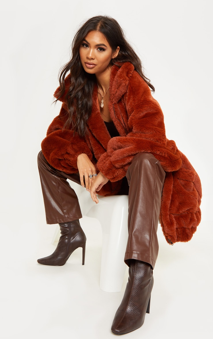 Brown Faux Fur Pocket Front Coat 4