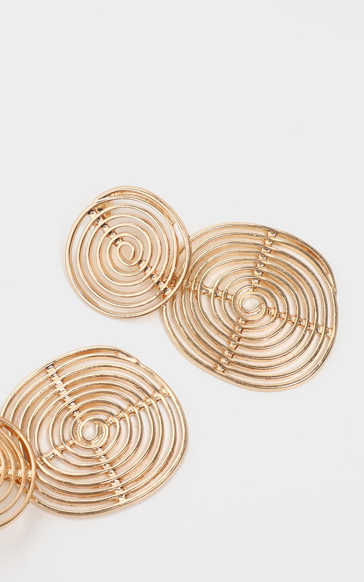Gold Swirl Double Drop Earrings 1