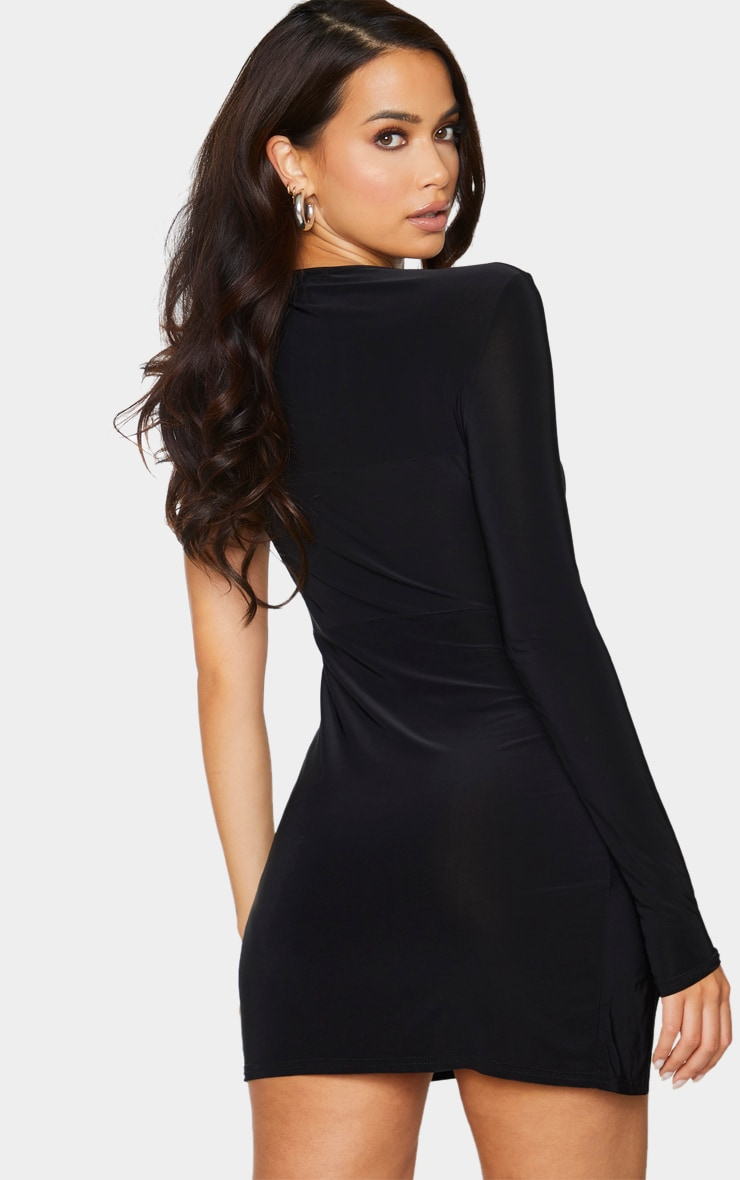 Black Slinky Clear Strap Split Detail Bodycon Dress 2