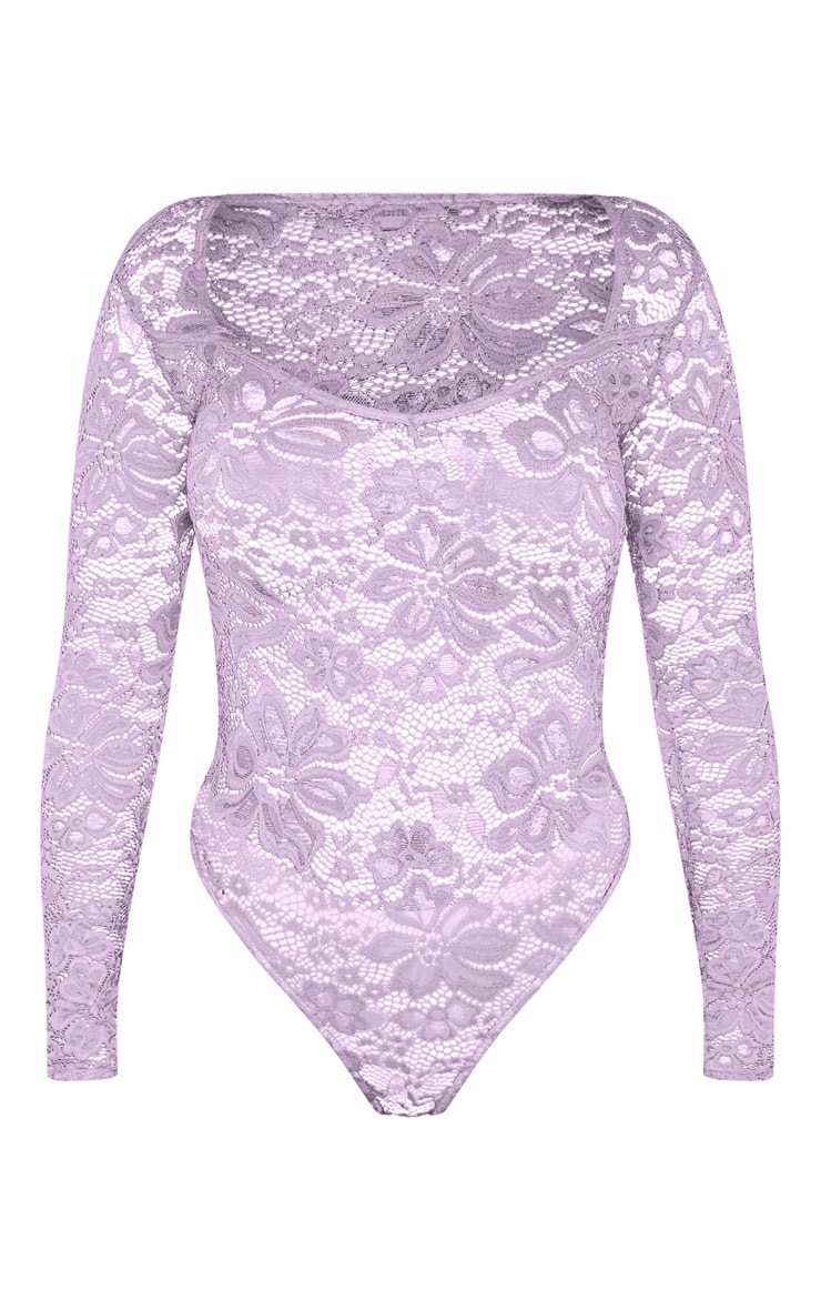 Shape Lilac Lace V Neck Long Sleeve Bodysuit 3