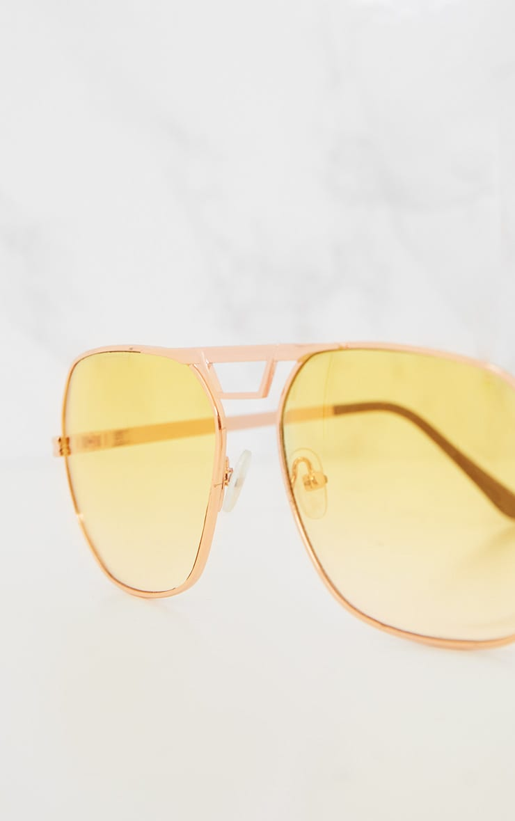 Yellow Metal Frame Retro Aviator Sunglasses 4