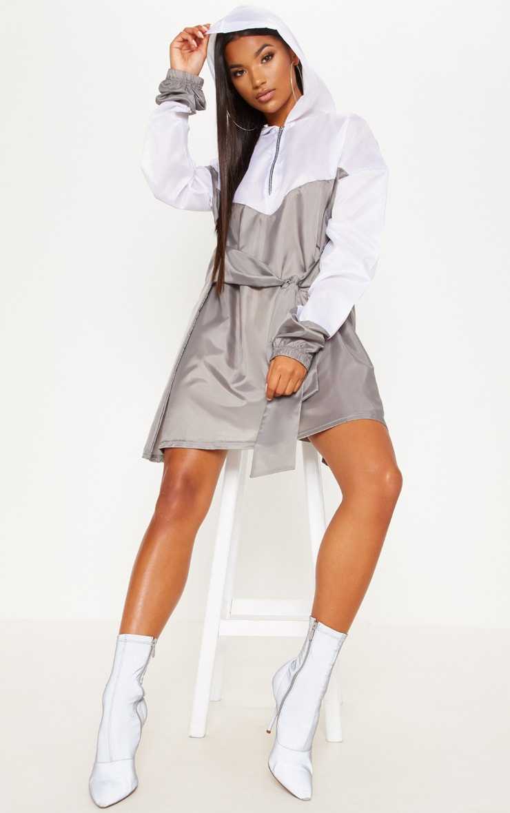 White Shell Tie Waist Hoodie Shift Dress