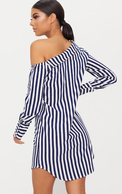 Navy Striped Off the Shoulder Shirt Dress