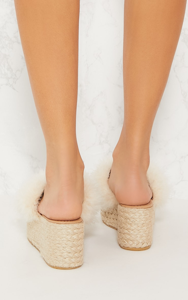Nude Espadrille Feather Wedge 4