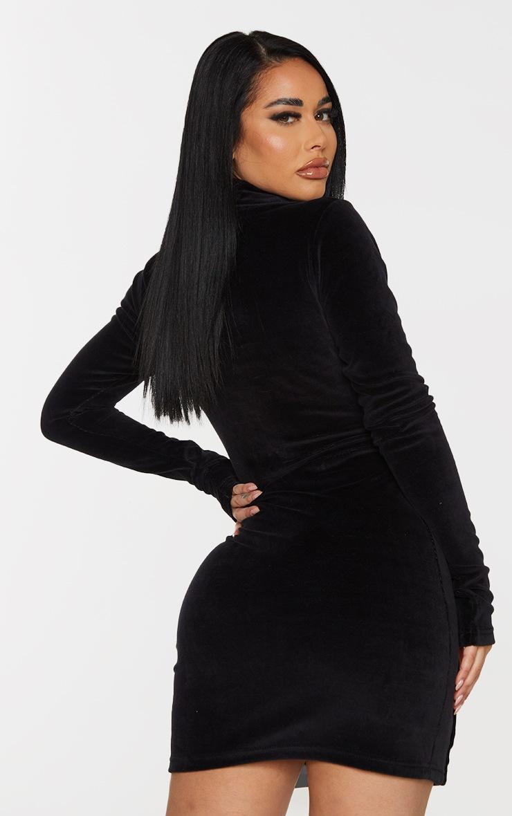 Shape Black Velour Baby Girl Popper Detail Bodycon Dress 2