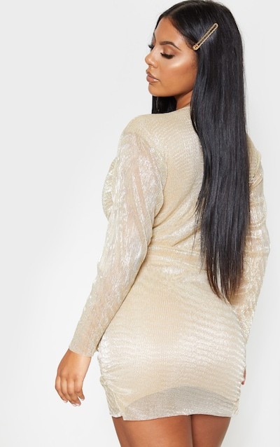 Gold Metallic Plisse Ruched Front V Plunge Bodycon Dress