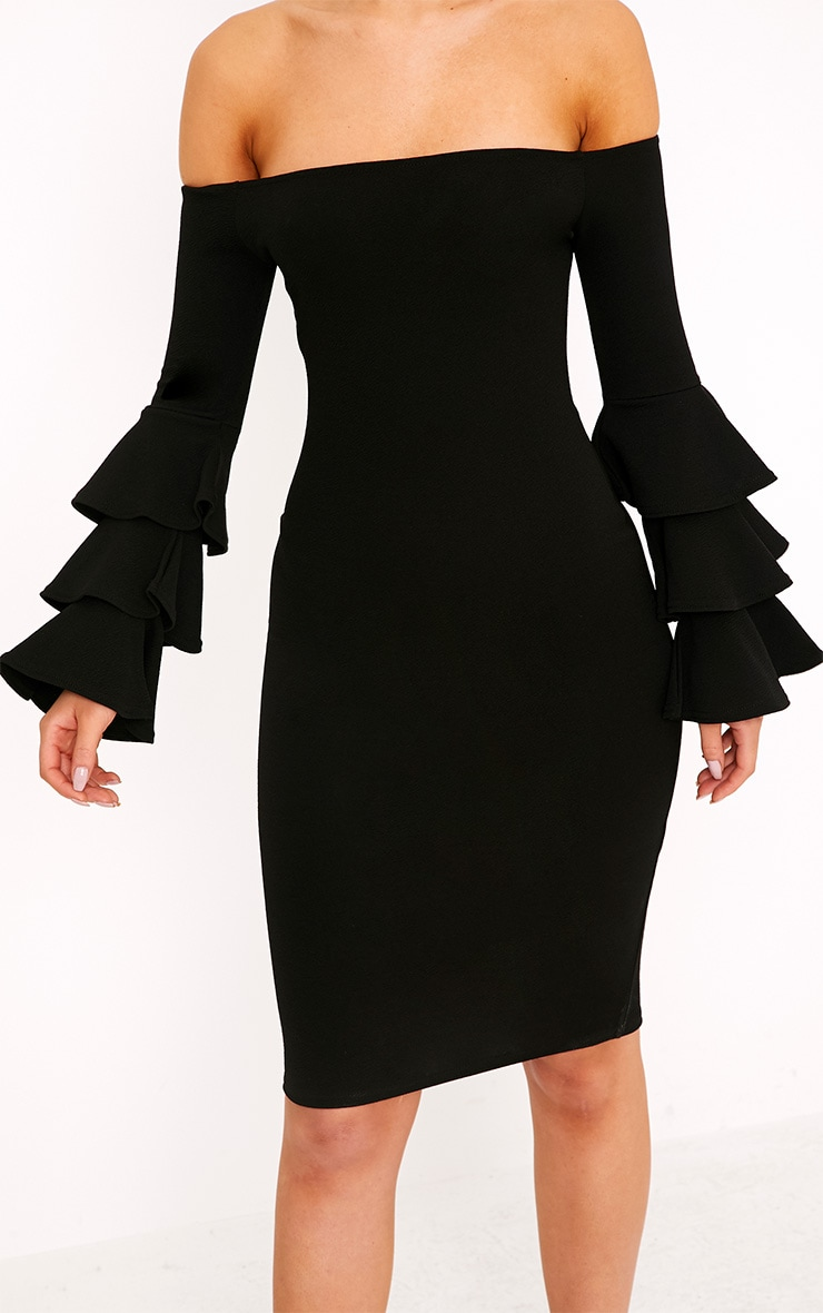 Aniaa Black Bardot Ruffle Sleeve Midi Dress 5