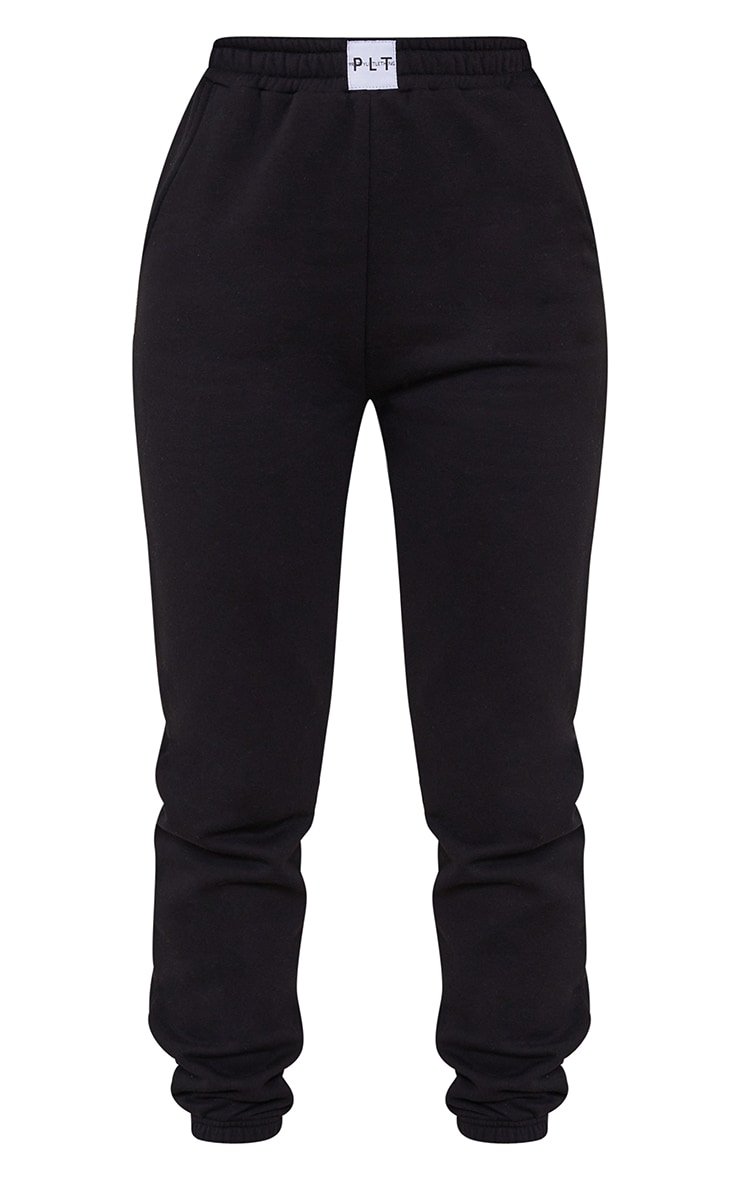 PRETTYLITTLETHING Black Badge Detail Cuffed Joggers 5